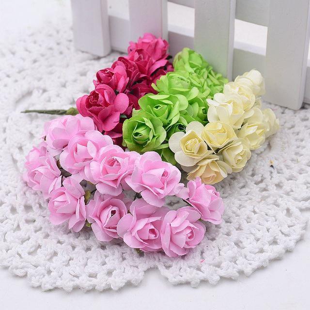 12Pcs/Lot 2 см мини-бумажные розы цветы украшение свадебного букета DIY скрапбукинга цветочные