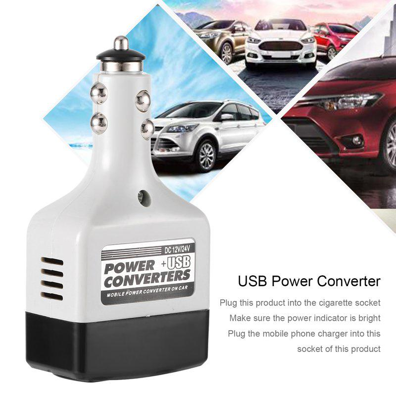 Car USB Charger Power Inverter Adapter 12V-24V to 220V DC to AC Converter New MT