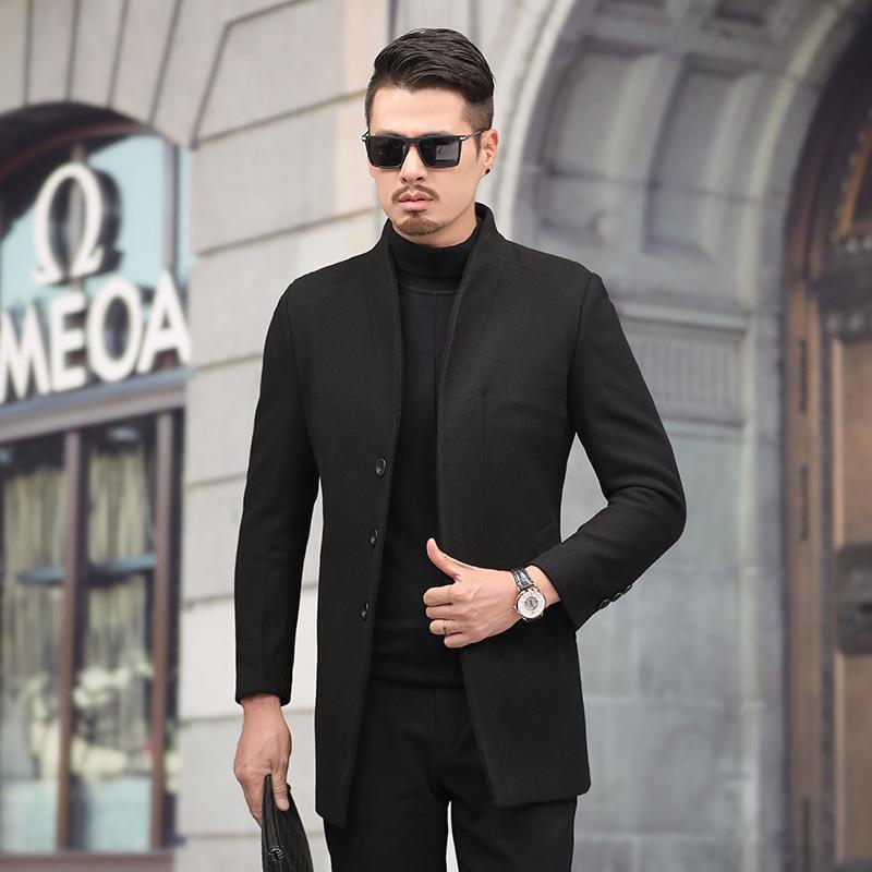 Winter Mens Woolen Jacket Quilted Trench Coat Outwear Long Overcoat Windbreaker