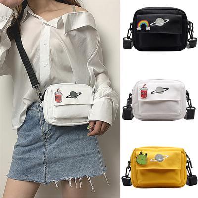 Suda Women Planet Canvas Student Messenger Shoulder Bag