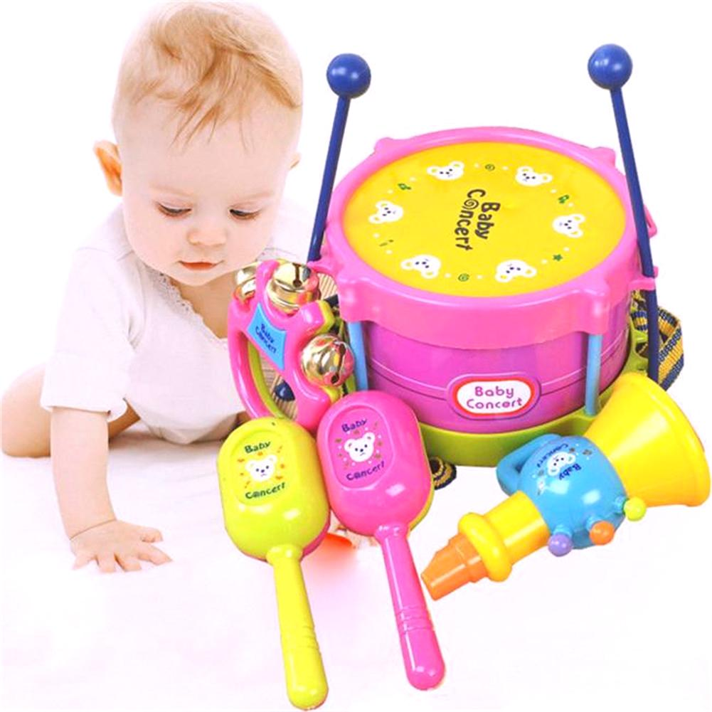 New Funny 5Pcs Cute Kids Baby Toy Drum Musical Instruments Band Kit Children Toy
