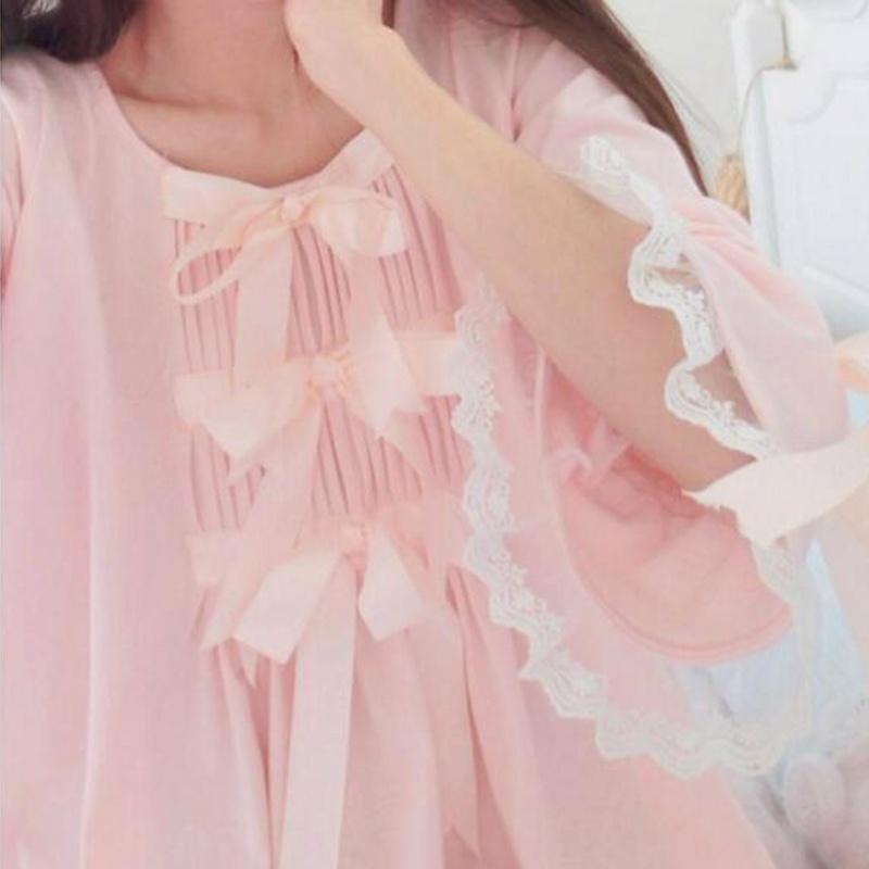甜美蝴蝶结喇叭袖纯棉舒适睡裙