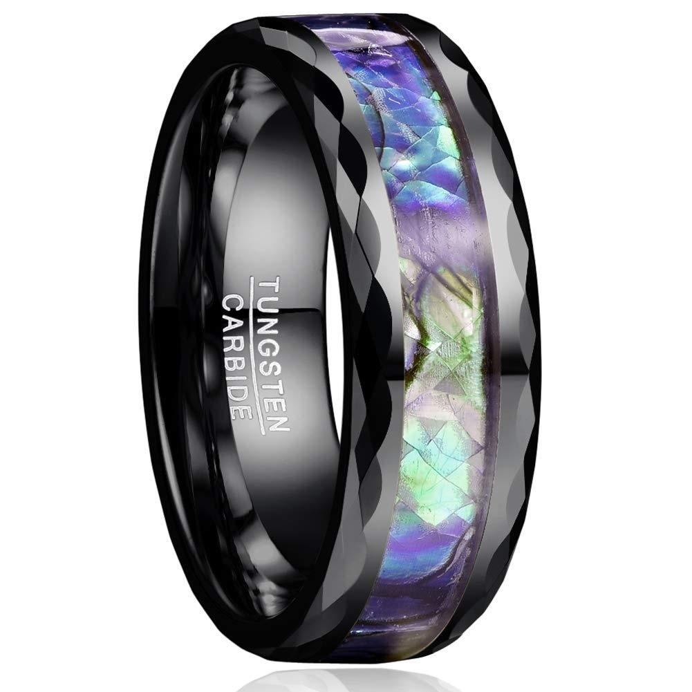 Silver Tungsten Carbide Seashell Ring 8mm Wedding Band Anniversary RIng for Men and Women Size 12.5