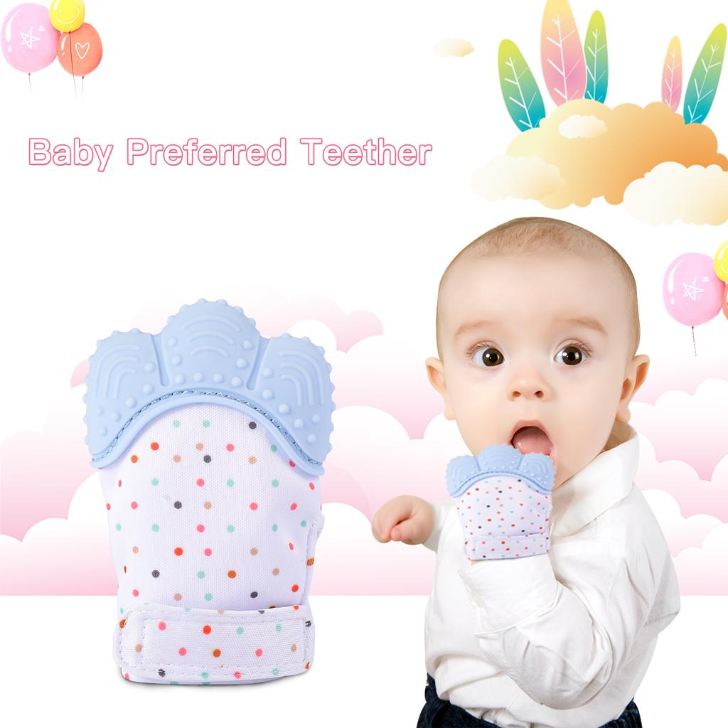 Baby Teether Silicone Mitts Teething Mitten Glove Candy Wrapper Sound Toy Gifts