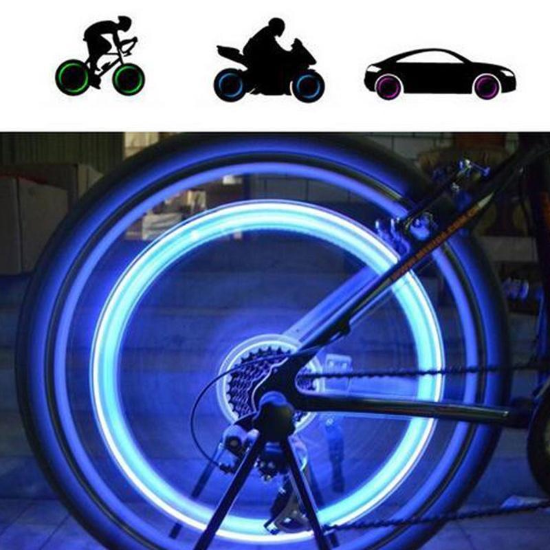4 X //set LED Neon Valve Dust Cap Light Car Motorcycle Bicycle Wheel Tyre Lamp Up