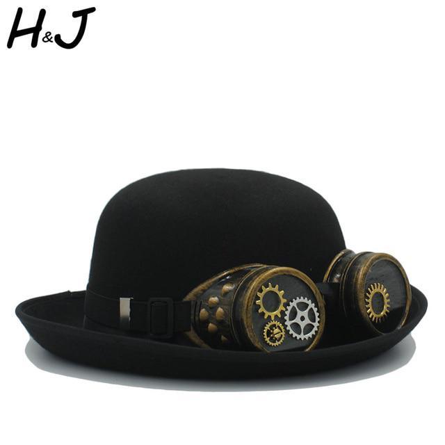 Handwork Fedora Hats Steampunk Bowler Hat Women Men Gear Glasses Cosplay Top Hat Party Caps