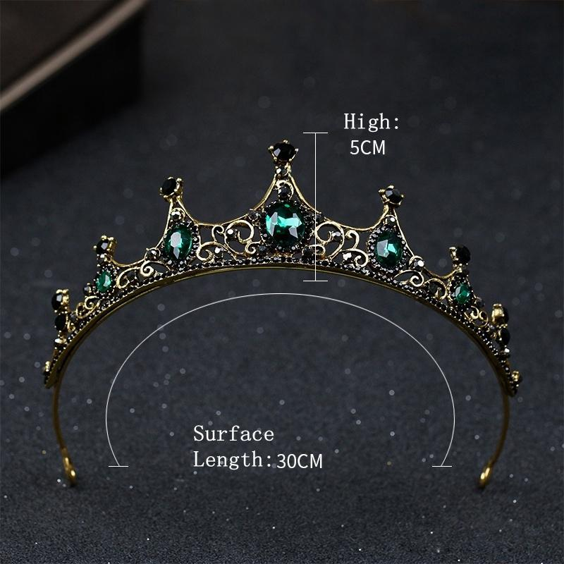 Green Crown Vintage Wedding Crystal Crown Hair crown Bridal headpiece headband Bridesmaid Wedding halo Baroque Queen Crown Hair Accessories