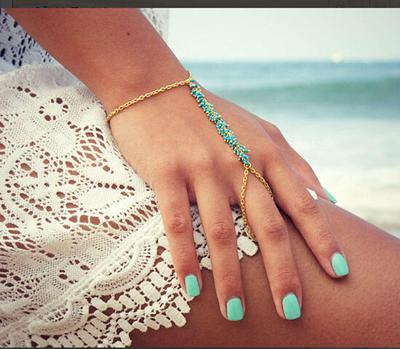 13730e2a323f Granos de la turquesa pulsera brazalete cadena de esclavo se entretejen dedo  anillo mano arnés