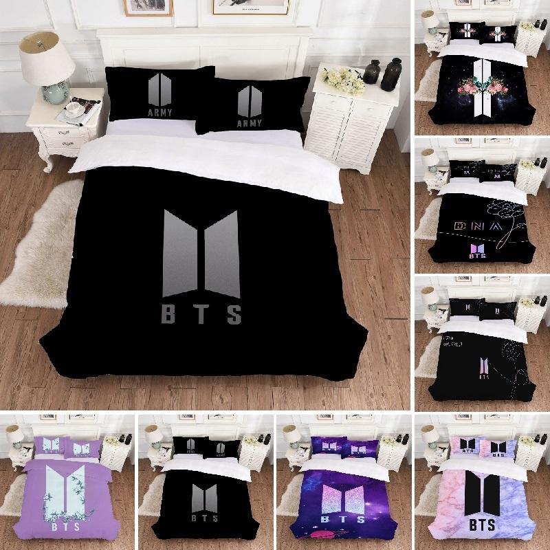 BTS Kpop 3D Bedding Set Duvet Cover With Pillowcases Single Double UK