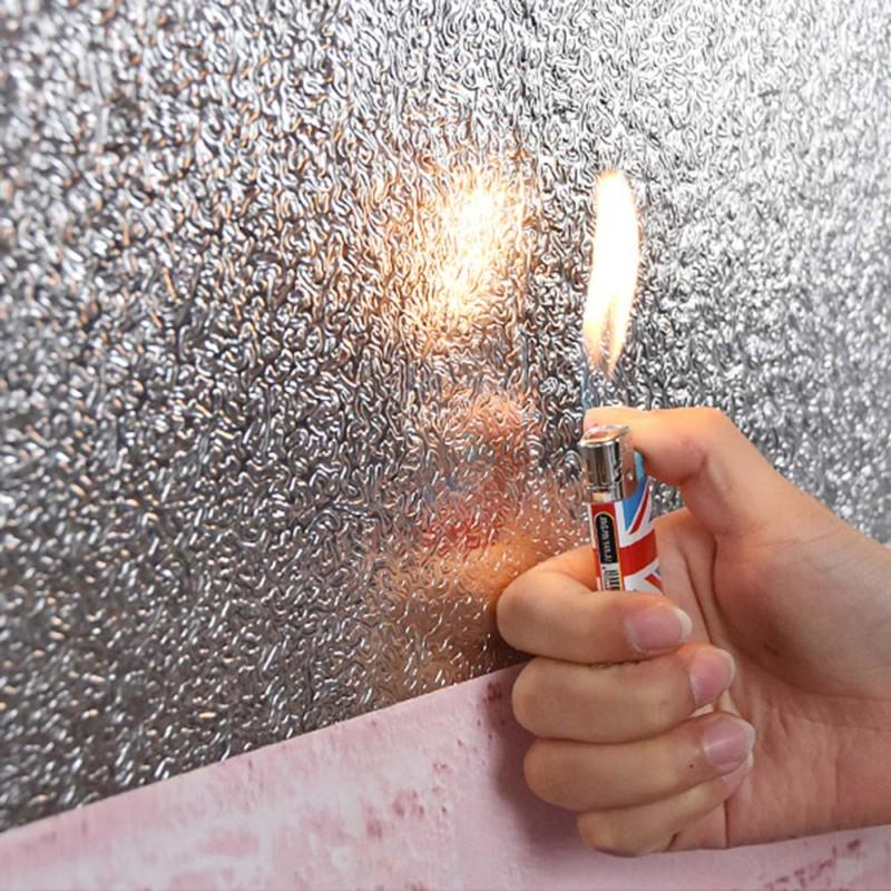 Waterproof Oil Proof Aluminum Foil Sticker Self Adhesive Kitchen Wallpaper W