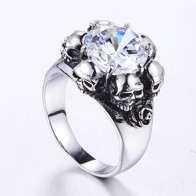 OIDEA Stainless Steel Bikers Skull Ring for Men Halloween Cosplay,Size 7 to 14