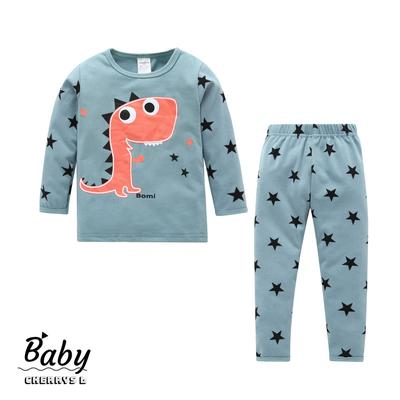 Kids Girls Boys Round Neck Winter Tops Pants Pajama Printed Sleepwear Suit 2pcs