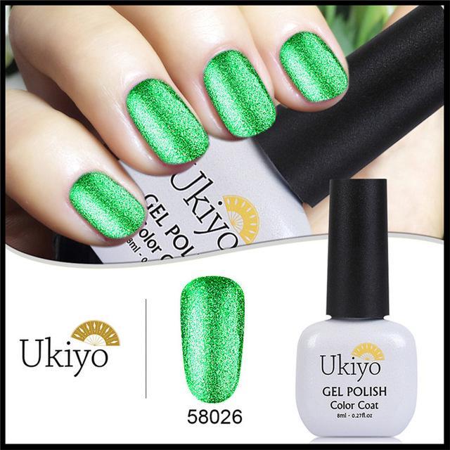 Ukiyo 8ML gran brillo UV Gel esmalte Soak Off Bling platino Color ...