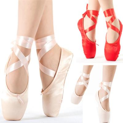 YKXLM Ballet Pointe Shoes Soft Satin and Canvas Dance Shoes with Silicone Sponge Toe Pads and Sewn Ribbon for Girls Women,Model TJ-ZJBL