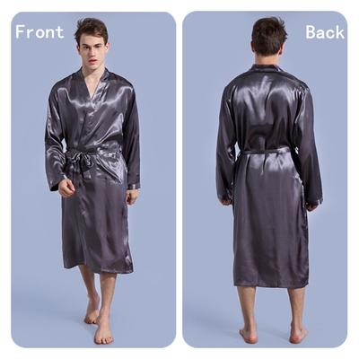 ce31cf7115 Men Solid Color Nightgown Thin Section Cardigan Loose Large Size Long Sleeve  Spring and Autumn