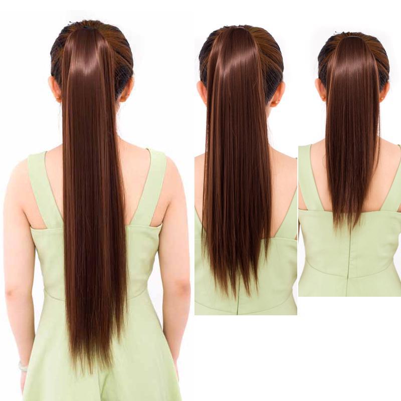 Женщины длинные прямые хвост натуральные волосы наращивание прически аксессуары синтетические фото