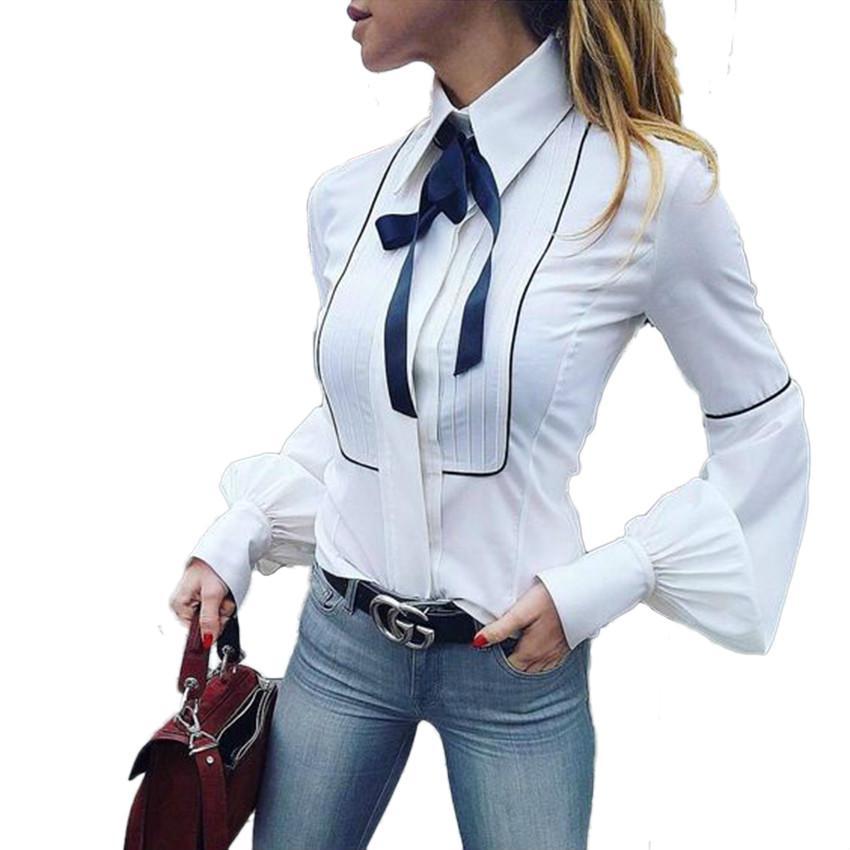 女装2018春季爆款蝴蝶结衬衫女长袖纯白色修身款灯笼袖职业衬衣