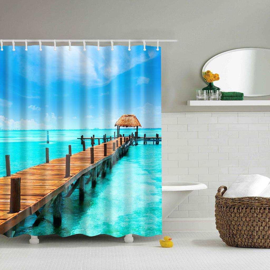 Badezimmer 3D Stoff Bambusmuster Duschvorhang mit 12 Vorhanghaken