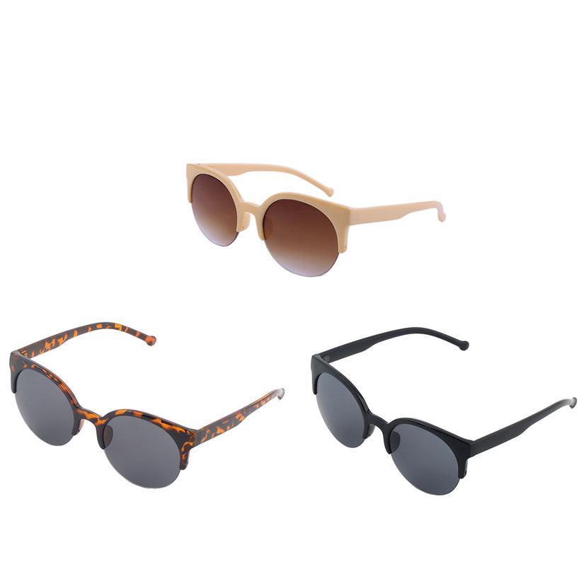 IR Unisex klassische Runde Kreis Rahmen halb randlose Brille ...