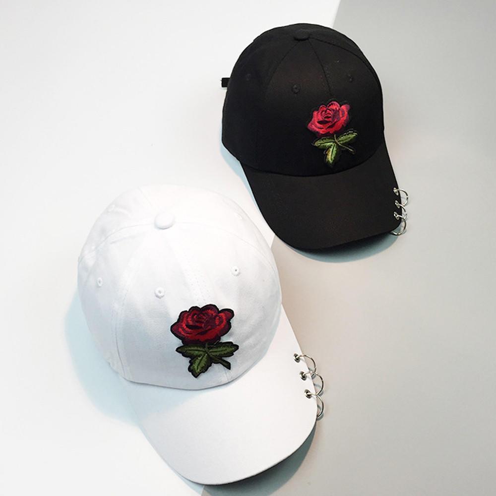 新款韩版金属环玫瑰花刺绣女士防晒棒球帽鸭舌帽户外遮阳休闲帽