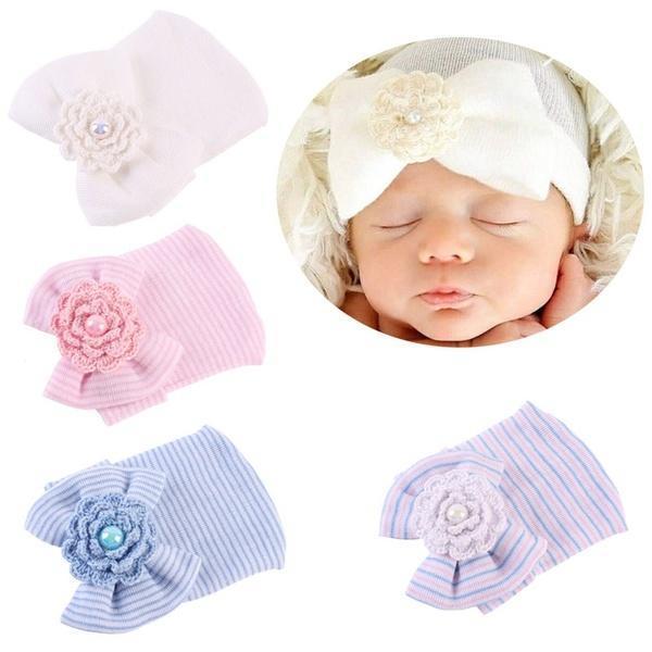 Nouveau-né bébé Infant Toddler filles Bow Flower Soft hôpital Cap ... 38886639952