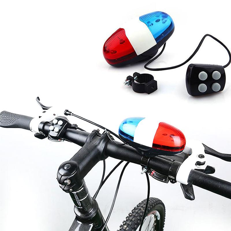 6 LED 4 Loud Siren Sound Cycling Bicycle Bike Horn Bell Police Car Light Trumpet