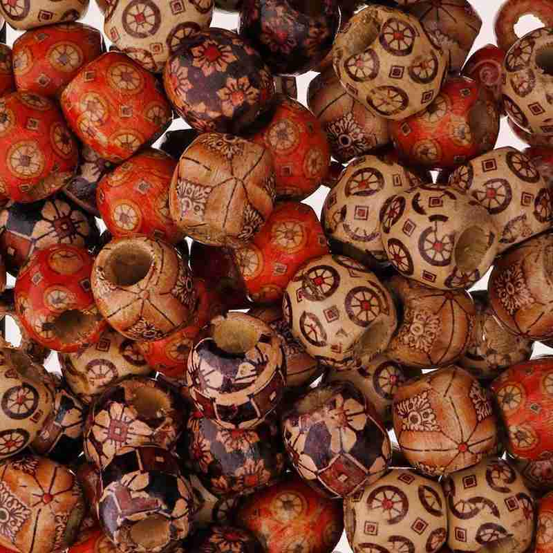 100 Pcs Mixed Large Holes Wooden Beads For Macrame Jewelry Charms Crafts Making