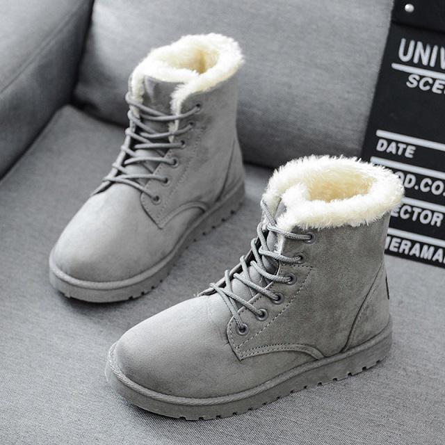 Winter Ladies Fur Warm Flats Ankle Snow Boot Faux Suede Bowknot Comfy Shoes