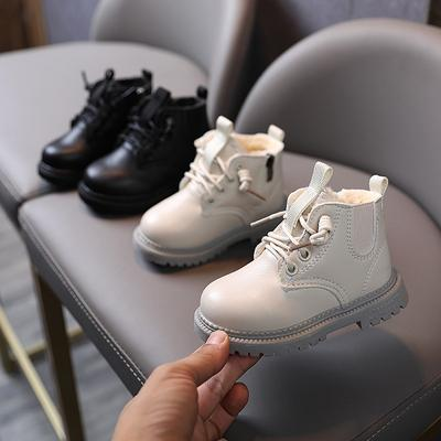 Sexysexy Korean Winter Children's Windproof and Velvet Warm Martin Boots Side Zipper Girls' Solid Color Snow Boots Boys' Cotton Shoes