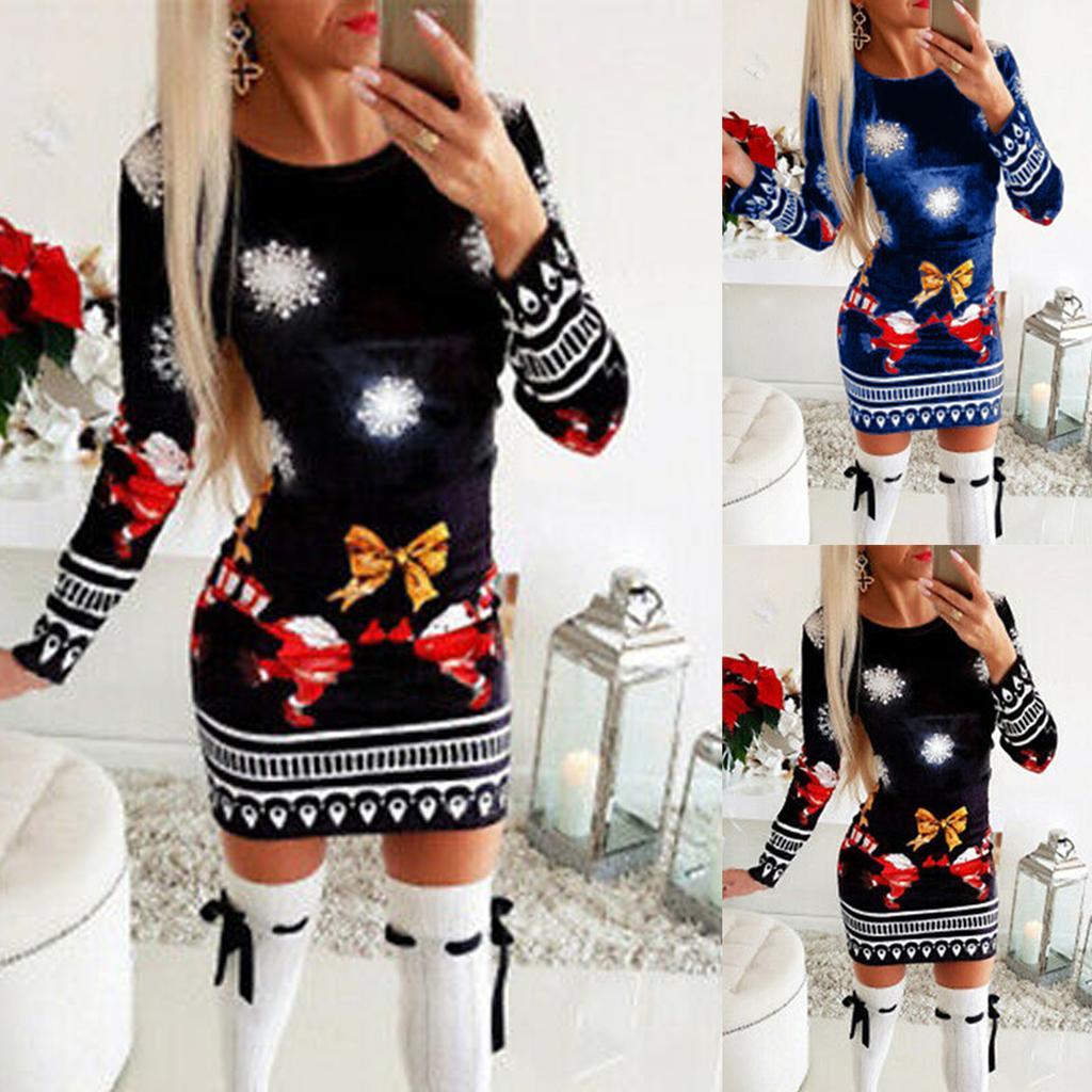 Женщины Рождество Мини платье Дамы Длинный рукав Xmas Jumper Платья Топы – купить по низким ценам в интернет-магазине Joom