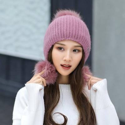 Moda de invierno pelo Triple bola Metal estándar conejo punto sombrero las  mujeres orejeras cálida lana ab4802ce110e