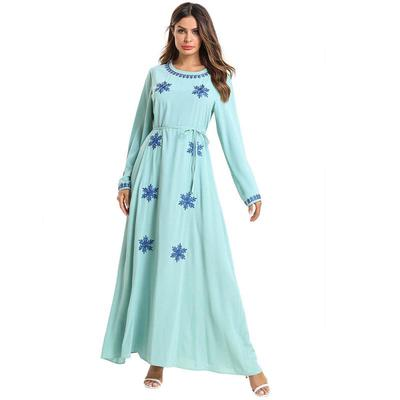 201592c83 Plus Size Islamic Clothing Embroidery Women Long Sleeve Muslim Abaya Dubai  Dress