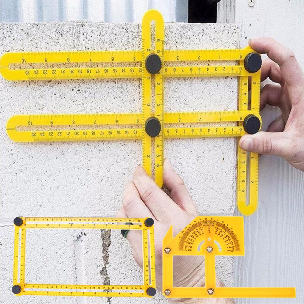Четырехсторонний мера инструмент Угол Изер шаблон инструмент Линейка механизм фото