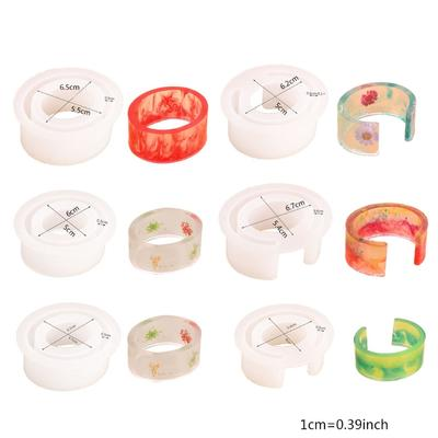 4 Pieces Resin Bracelet Bangle Mold C Font DIY Open Cuff Mold Silicone Resin Casting Mold for Jewelry Making DIY Crafts
