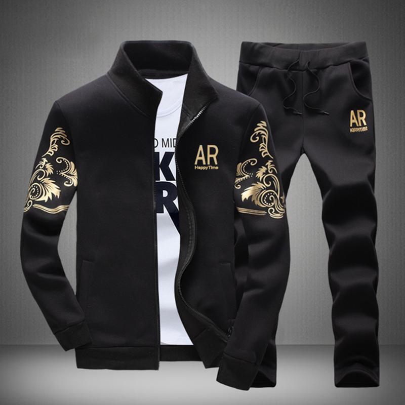 Gold-M416 / Случайные мужчины Мода Tracksuits Sweatshirts Куртки »Брюки Плюс Размер спортивные костюмы
