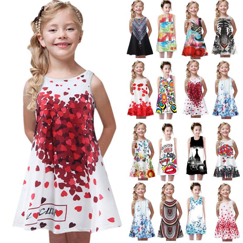 Baby девушки цветочные печать платья малыш дети девушка сторона без рукавов платье платья танк Sundress подарок фото