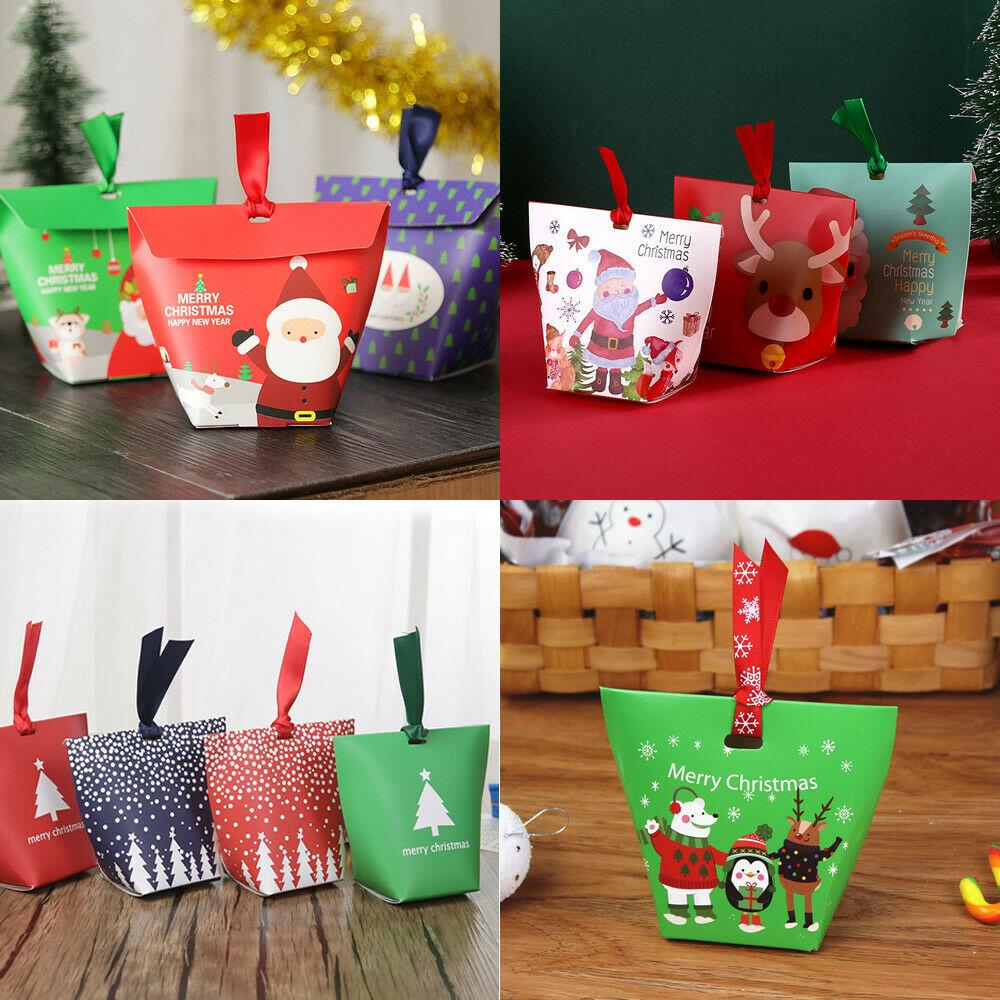 50X Christmas Bags Party Favour Cookies Sweet Candy Gift Apple Stocking Packing