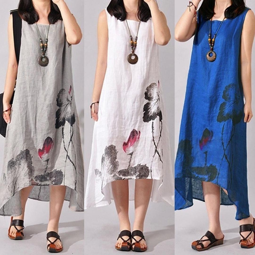 新款夏季中国风水墨画文艺范宽松大码短袖长裙印花棉麻连衣裙