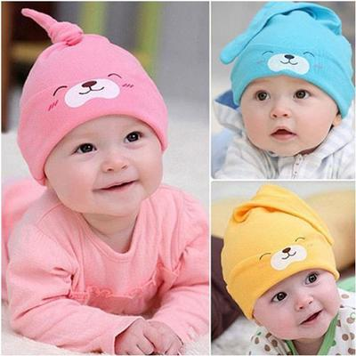 UK New Baby Girls Infant Colorful Soft Hat with Bow Cap Newborn Striped Beanie