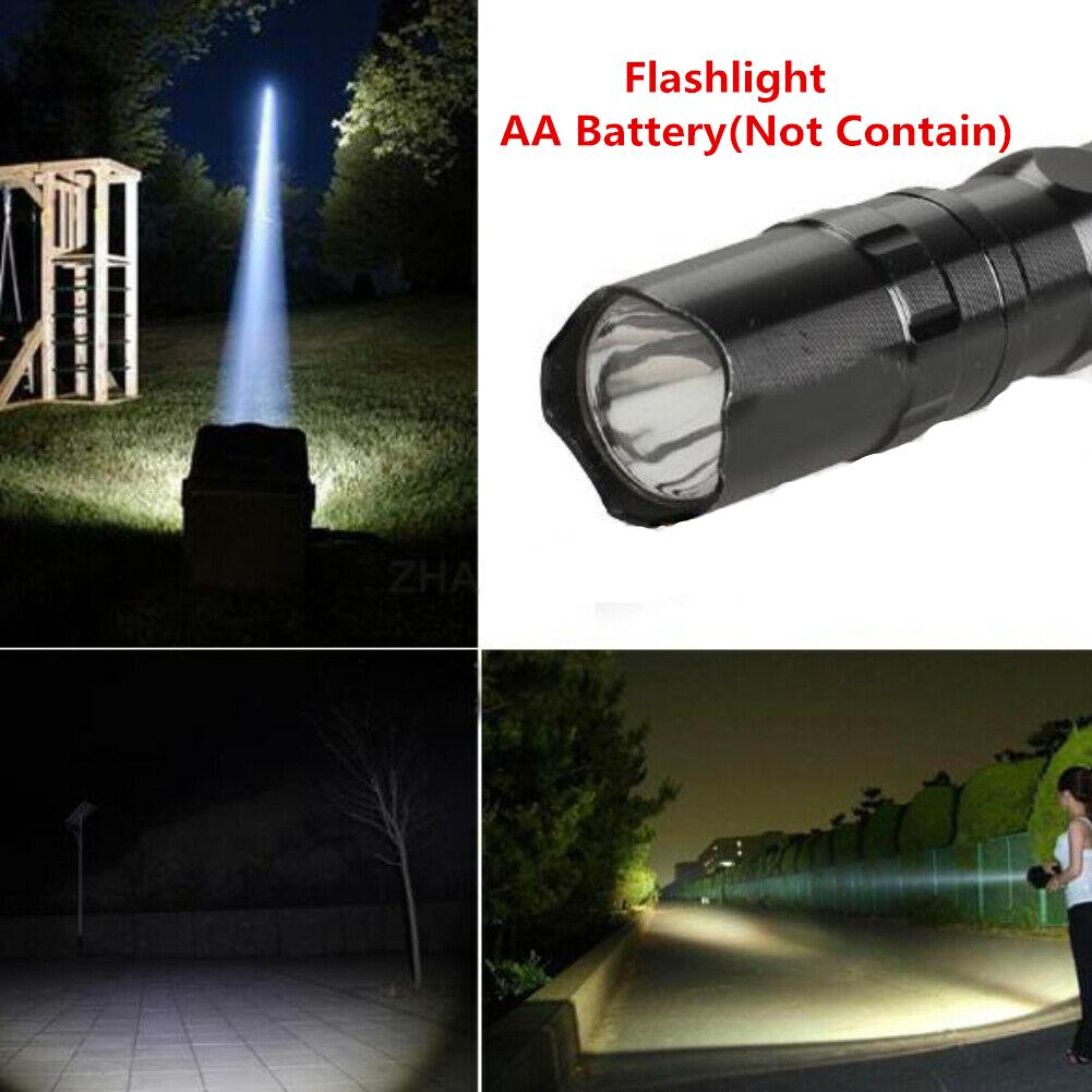 Bright Flashlight LED lamp With Clip Clamp AA Focus Mini Torch Light Lamp