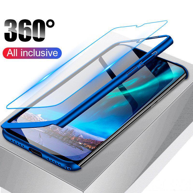 Люкс 360 ° полный чехол телефон чехол назад Обложка + закаленное стекло Флим для iPhone Samsung Huawei Xiaomi