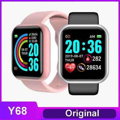 The Y68 smartwatch with a 1.44 inch screen, IP67 water protection and a pulsometer