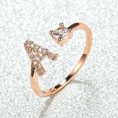 Silver/Rose Gold Color 26 English Letters CZ Zircon Opening Rings Adjustable Rings Jewelry