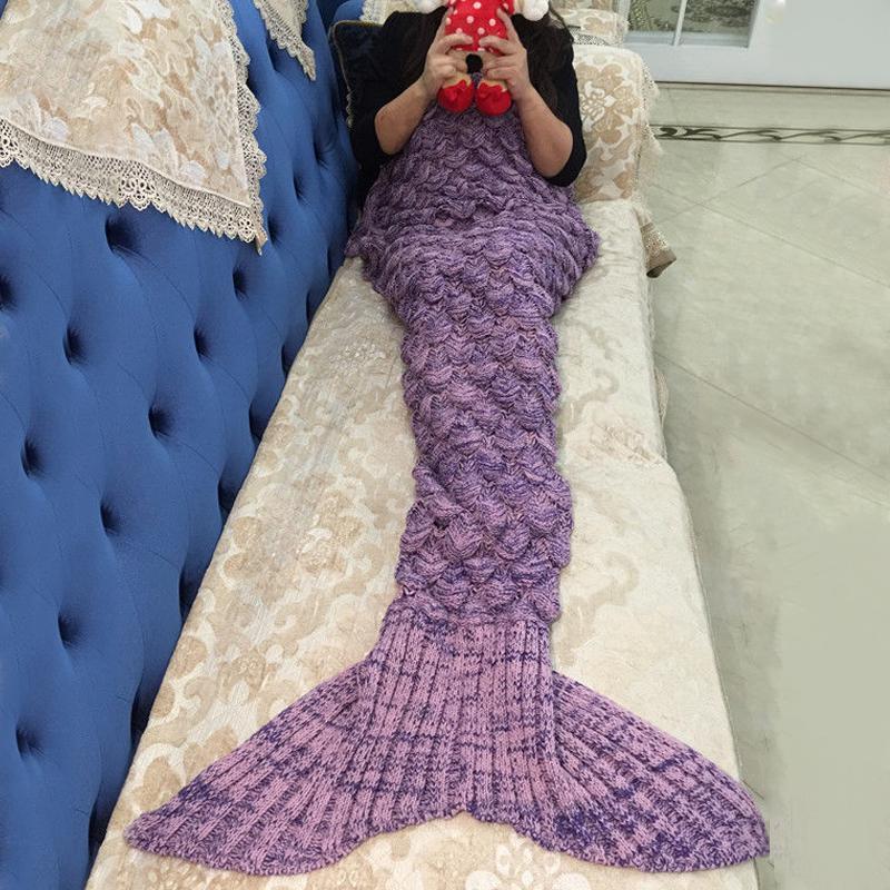 Cola de sirena manta adulto Crochet Cocoon mujeres manta Lapghan ...