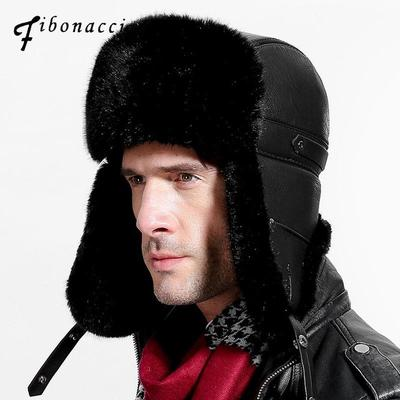 803432497db Fibonacci Men s bomber for winter Brand quality Imitation leather fur with  pom ear protect hat hats