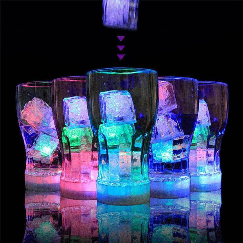 Flash 12x Cubo De Hielo Luminoso Led De Color En Agua Luz Nocturna Fiesta Boda Decor UK