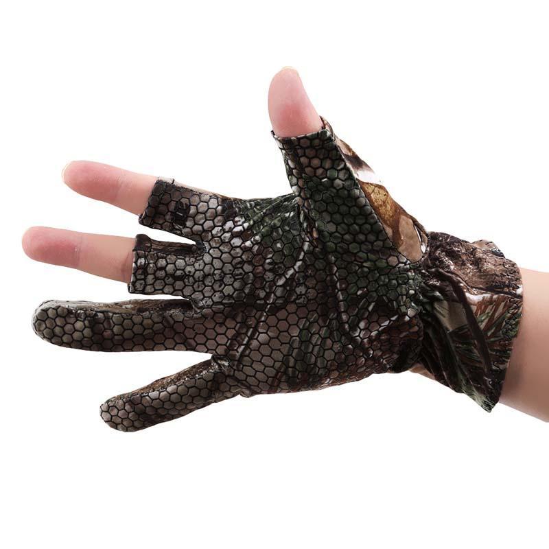 1 Pair Anti-slip 3 Cut Finger Fishing Fish Protector Gloves Hunting Shooting New