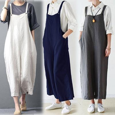 7e6bb34e4c2 Women Cargo Pants Bib Overalls Dungaree Wide Leg Trousers Cotton Jumpsuit  Romper