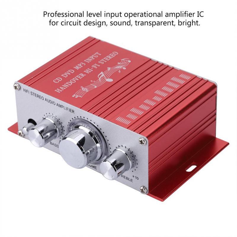 80W Mini Car Motorcycle Boat Power Amplifier HiFi Stereo AMP FM MP3 Audio 2CH