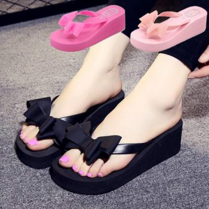 TANGSen Womens Thick-Bottomed Bow Slippers Ladies Summer Fashion High-Heeled Wedge Shoes Beach Casual Slippers Blue